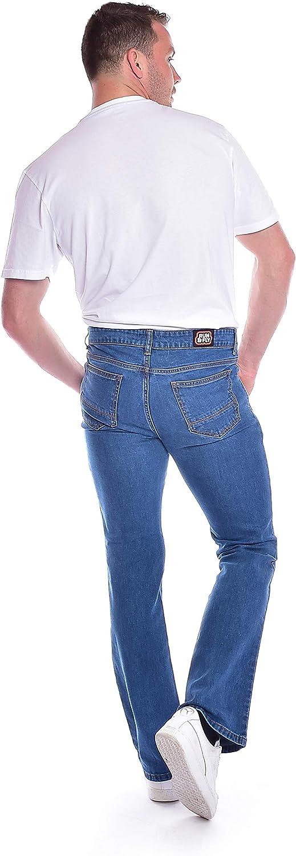 Run & Fly Mens 60s 70s Vintage Blue Stonewash Stretch Denim Slim Bootcut Jeans
