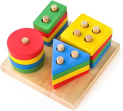 Boxiki kids Wooden Stacking Toys & Shape Sorting Board | Geometric Shape Stacker | Eco-Friendly & Non-Toxic Wooden To...