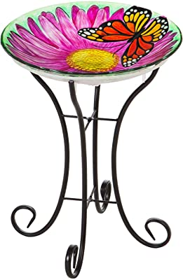 Evergreen Garden Beautiful Summer Butterfly Embossed Glass Solar Bird Bath with Stand - 18 x 18 x 21 Inches Fade and Weather Resistant Outdoor Decoration for Homes, Yards and Gardens