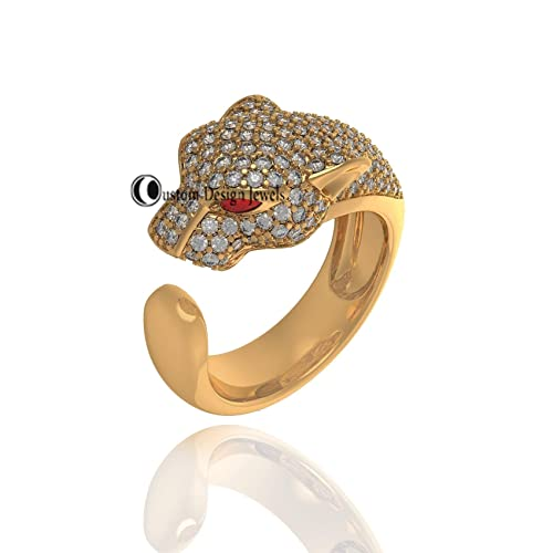Amazon.com: Panther Ring Pave Diamond Ring 925 Silver Gold Plated ...