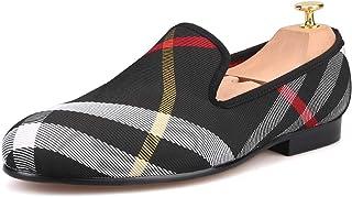 HI&HANN Plaid Canvas Loafers Men 's Casual Shoes Smoking Slipper