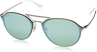 RAYBAN Unisex's 0RB4292N 671/30 62 Sunglasses, White/Dark Green Mirror Silver