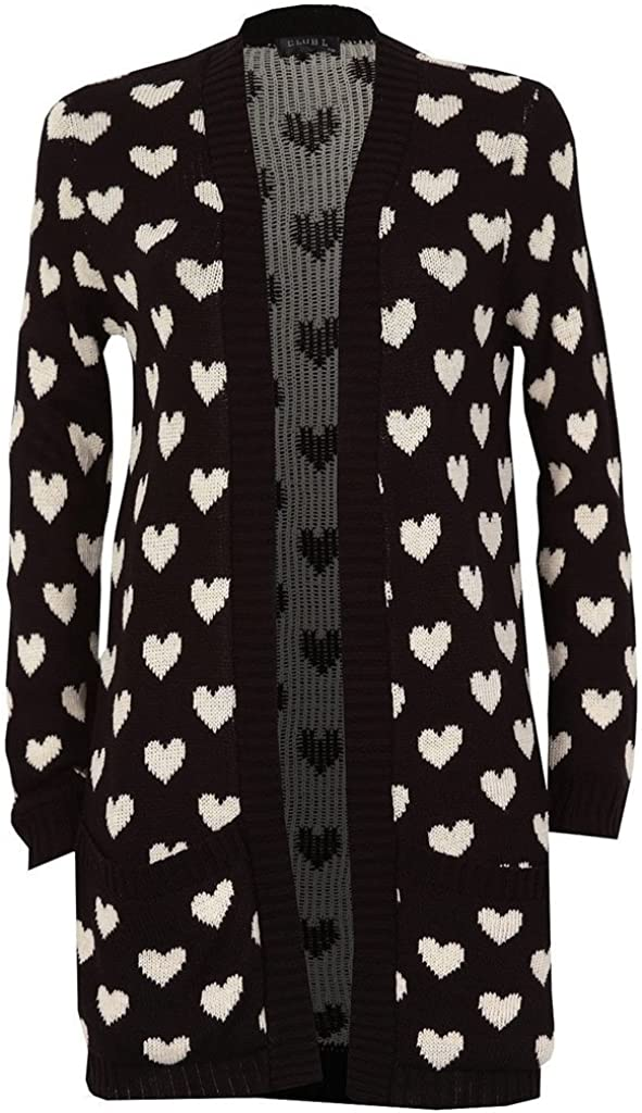Indefinitely RM Fashions Womens Long Sleeve Knitted Cardig Heart New product!! Print Chunky