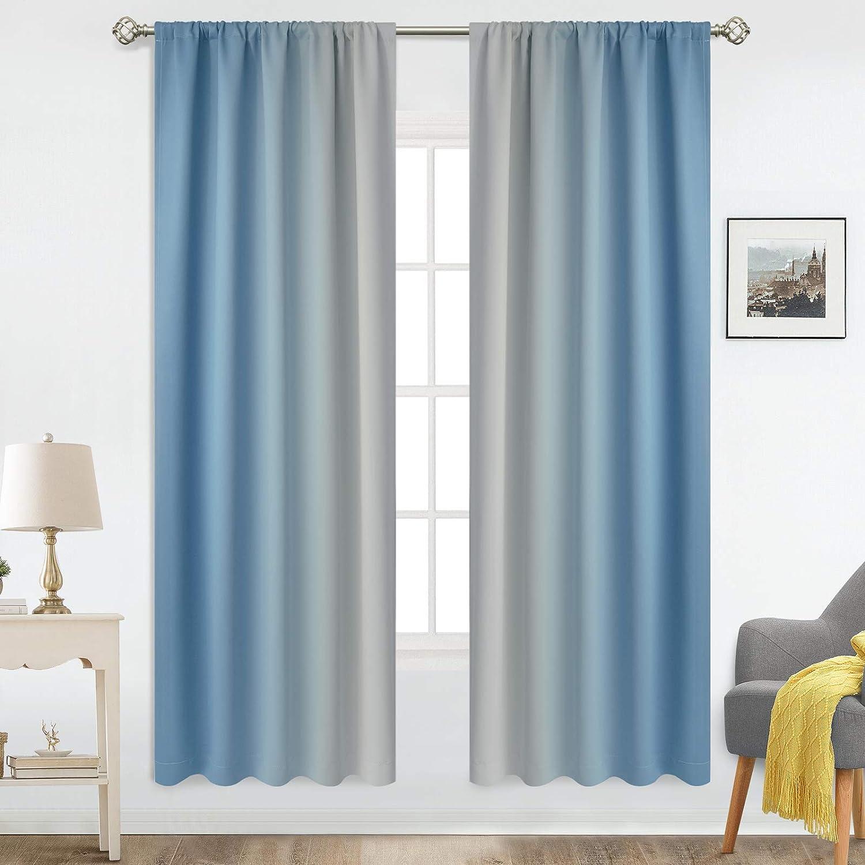 COSVIYA Rod Pocket Spasm price Ombre Room Max 78% OFF Panels Darkening 2 Curtains Light
