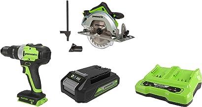 Greenworks Tools 1500907 Sierra Circular, 24 V + Taladro/Atornillador GD24DD65 + Batería G24B2 2ª generación + Batería de doble ranura Cargador universal G24X2C