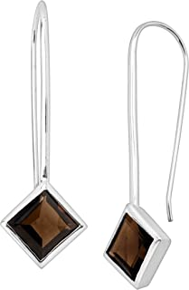 Mountainview' Natural Smokey Quartz Drop Earrings in Sterling Silver