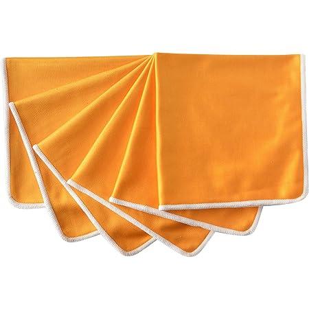 SINLAND 速乾 マイクロ ファイバー ガラス グラス 拭き クロス キッチン 食器 拭き クリーニング タオル 6枚 (30cmx40cm, オレンジ)
