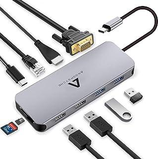 3X USB 3.0 1x USB 2.0 hdmi vga /& 100w PD USB 3.1 c Nov8Tech USB hub c Dock Portatile Stand 11-in-1 ethernet 3.5mm 11in1 Dock per Tutti i dispositivi USB c - Spazio Grigio