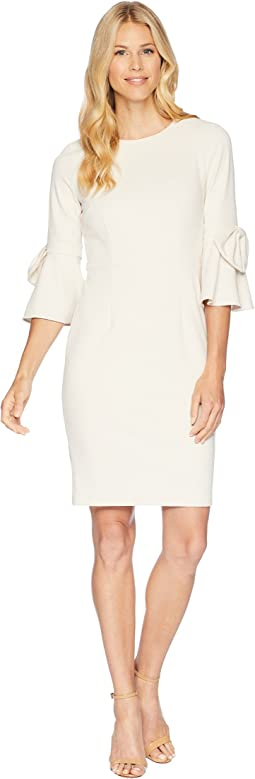 Donna Morgan 3/4 Bell Sleeve Crepe Shift Dress w/ Bow Detail at Wrist