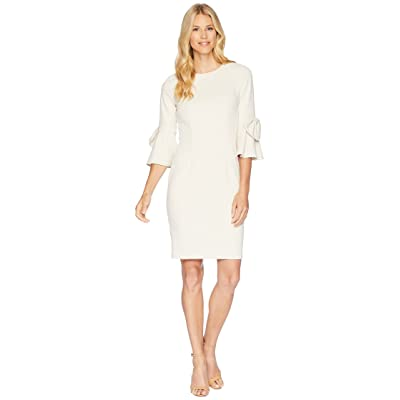 8898c3f1 Donna Morgan 3/4 Bell Sleeve Crepe Shift Dress w/ Bow Detail at Wrist
