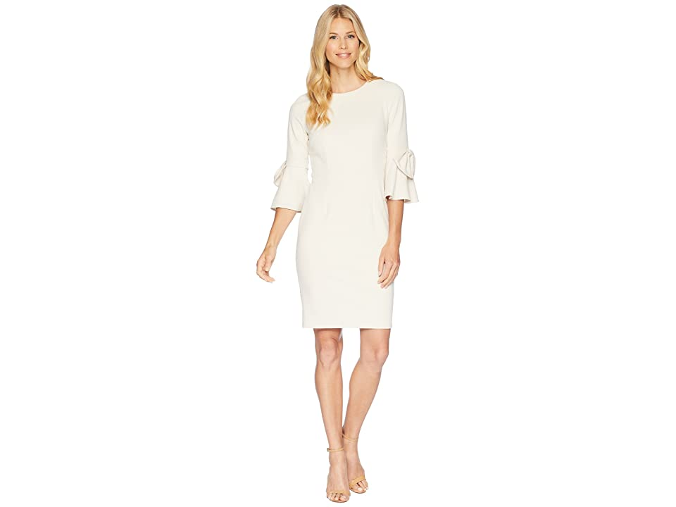 Donna Morgan 3/4 Bell Sleeve Crepe Shift Dress w/ Bow Detail at Wrist (Horn) Women