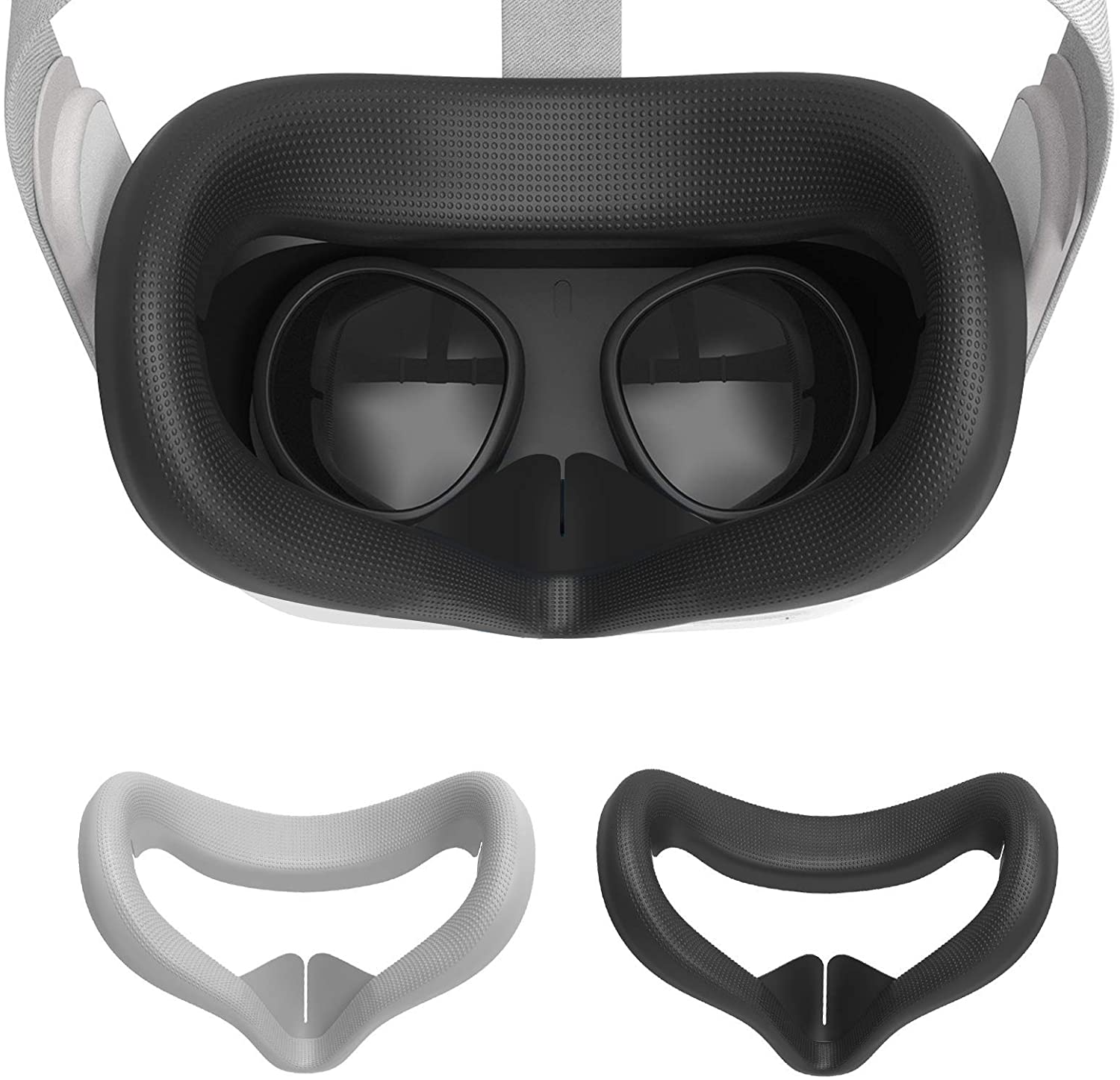 2Pcs VR Face Silicone Cover VR Silicone Cover Silicone Face Cover for Oculus Quest 2,Sweatproof, Protect Face Skin, Anti Skid, Easy to Clean and Lightproof