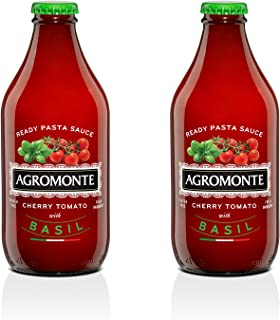 Agromonte Authentic Italian Cherry Tomato Pasta Sauce with Basil - Taste of Italy Gourmet Foodie and Chef Gift - Ready to Use, Certified Kosher, Gluten-Free, All Natural 11.64oz (2 pack)