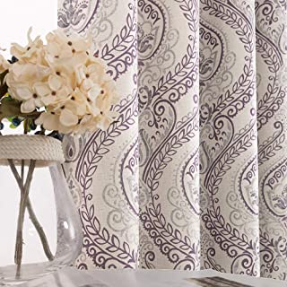 Damask Printed Curtains for Bedroom Drapes Vintage Linen Textured Medallion Curtain Panels Window Treatments Room Darkening for Living Room Patio Door 1 Pair 95 Inches Long Purple
