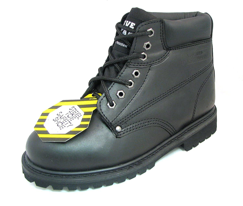 [G4U] z-7626メンズSteel Toe Work Bootsブラックレザー6?