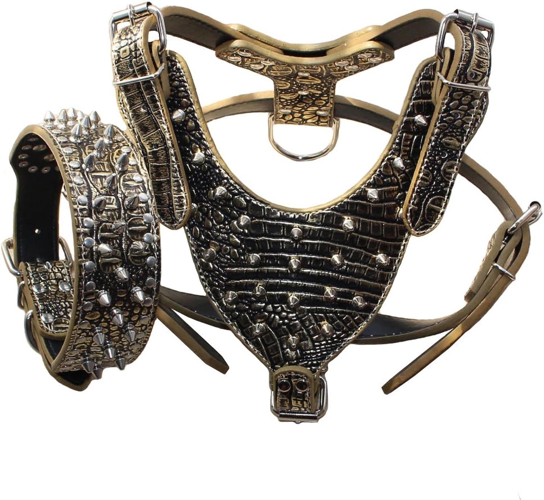 Benala Leather Spikes Dog Harness and Collar Heavy Duty Set for Pitbull,German Shepherd,golden Retriever (golden Brown,M)