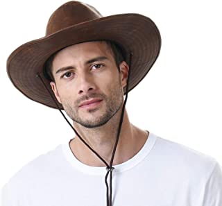 WITHMOONS Indiana Jones Hat Weathered Faux Leather Outback Hat GN8749