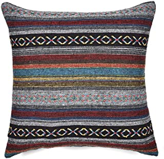 Merrycolor Tribal Throw Pillow Cushion Cover Retro Stripe Cotton Blend Linen Pillow Case Bohemian Decorative Pillowcase for Sofa Couch 18x18 Inch Grey (Only Pillow Cover)