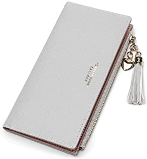 Wallets For Women Card Holder Slim Wallet Coin Clutch Purse Organizer Cute Thin Leather Girl Ladies - Grey - Long