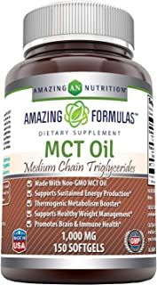 Amazing Formulas MCT Oil 1000 Mg, Softgels (Non-GMO) - Supports Sustained Energy Production* -Thermogenic Metabolism Boost...