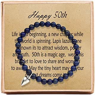 OFGOT7 50th Birthday Gifts for Women Turning 50 – Bead Bracelet with Message Card & Gift Box - Fiftieth