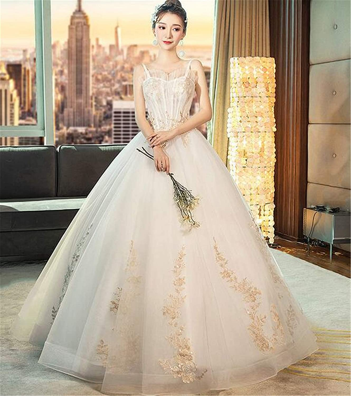 Wedding Dress, Bride Marry Sling Dream Princess Open Back Tutu Lace Embroidery Adjustable Strap Tulle Flower Woman Party Evening