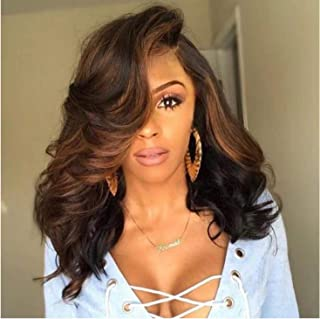 Long Wigs for Women Dark Brown Natural Synthetic Wavy Wig Heat Friendly Resistant Hair Replacement wig(1# 18'' )