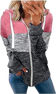 Femme Sweat à Capuche Zippée à Revers Manches Longues, Sweat-shirt à épissure Imprimée Dégradé Veste avec Cordon de Serrag...