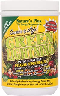 NaturesPlus Source of Life Green Lightning Energy Drink - .51 lbs, Drink Powder - Whole Food Energy Supplement - Green Sup...