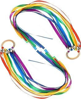 TOYANDONA 2pcs Waldorf Hand Kite Set Rainbow Ribbon Sensory Toys Rainbow Hand Kite Montessori Waldorf Toys for Toddlers Le...