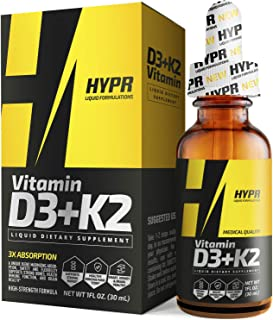 HYPR D3K2 Vitamin D3 + K2 (MK-7) Liquid Drops with MCT Oil, Helps Support Strong Bones and Cardiovascular S...