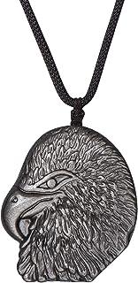Genuine Obsidian Healing Stone Necklace Eagle Stone...