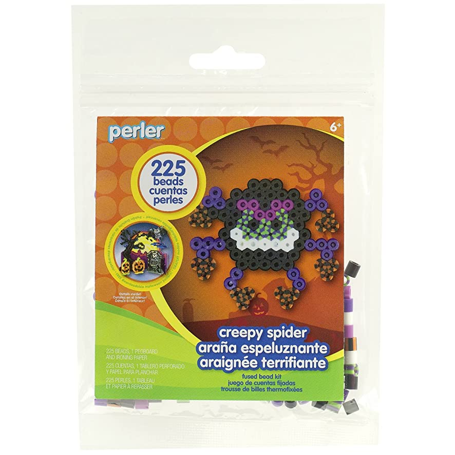 Perler Beads Creepy Spider Halloween Activity Kit Craft for Kids, 227 pcs.