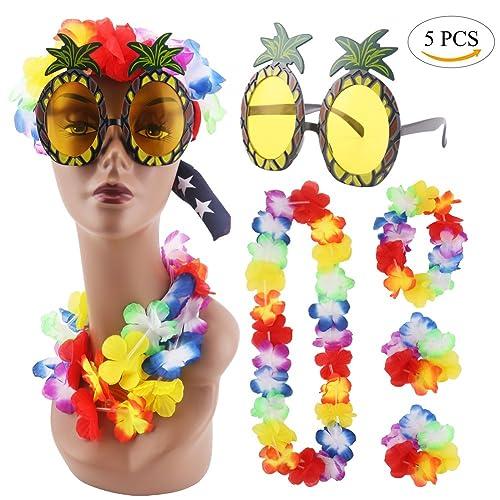 51b7ea5b0e0a CCINEE Pineapple Sunglasses & 4pcs Hawaiian Lei Flower Garland Fancy Dress  Set For Tropical Hawaian Luau