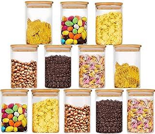 Bocaux de Conservation Alimentaire Hermétiques à Nourriture Ensemble de Boîtes des Aliments Sèche sans BPA Blanc 300ml*12 ...