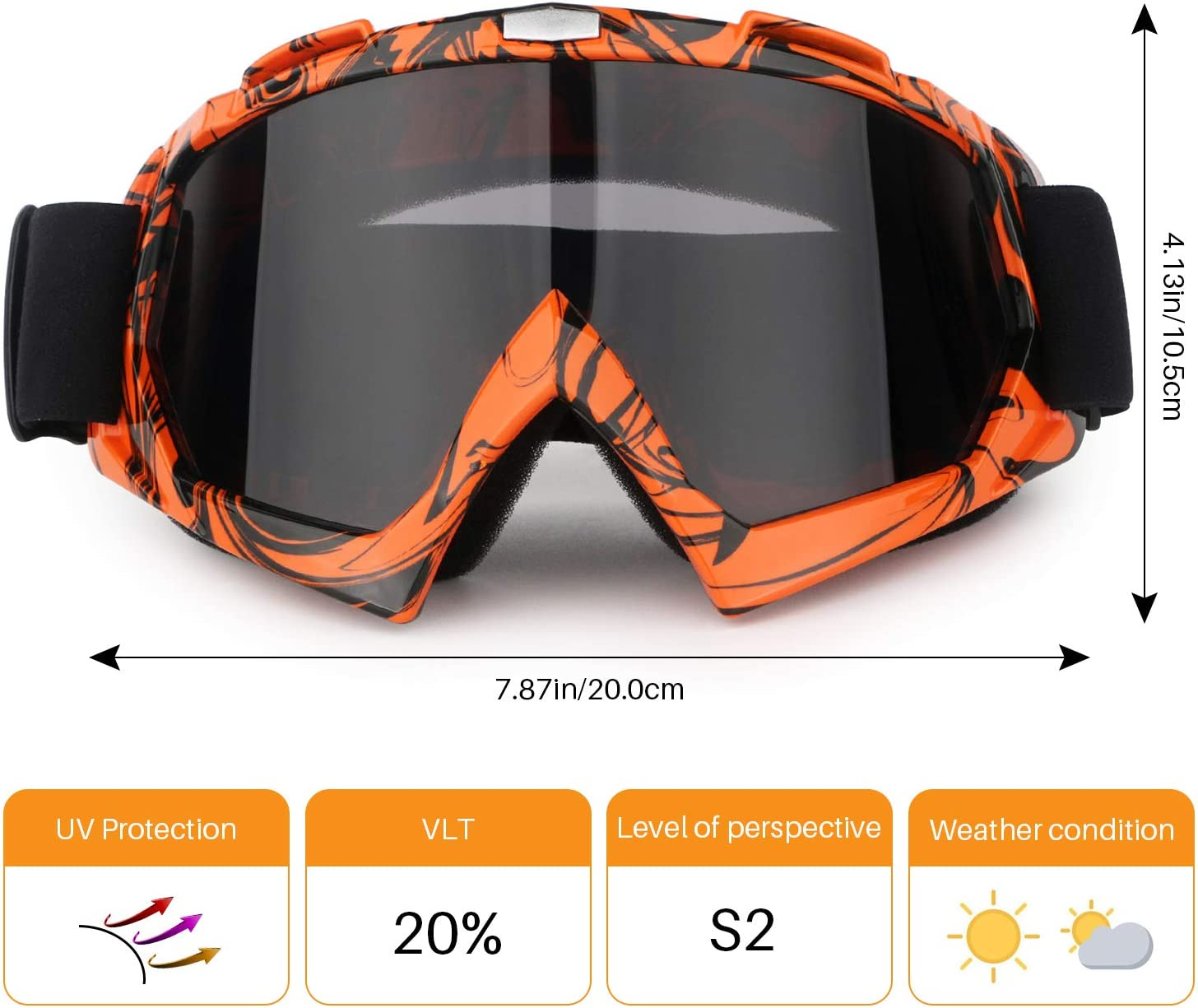 Motorcycle Goggles ATV Dirt Bike Anti Scratch Motocross UV400 Protect Bendable Eyewear Off Road Dust proof Anti Fog Riding Goggles with Adjustable Strap /&Color Lens for Adult Youth
