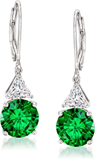 Ross-Simons 9mm Simulated Emerald and 1.00 ct. t.w. CZ Drop Earrings in Sterling Silver