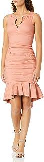 Nicole Miller womens Cotton Metal Center Front Zip Ruffle Hem Dress Formal Night Out Dress