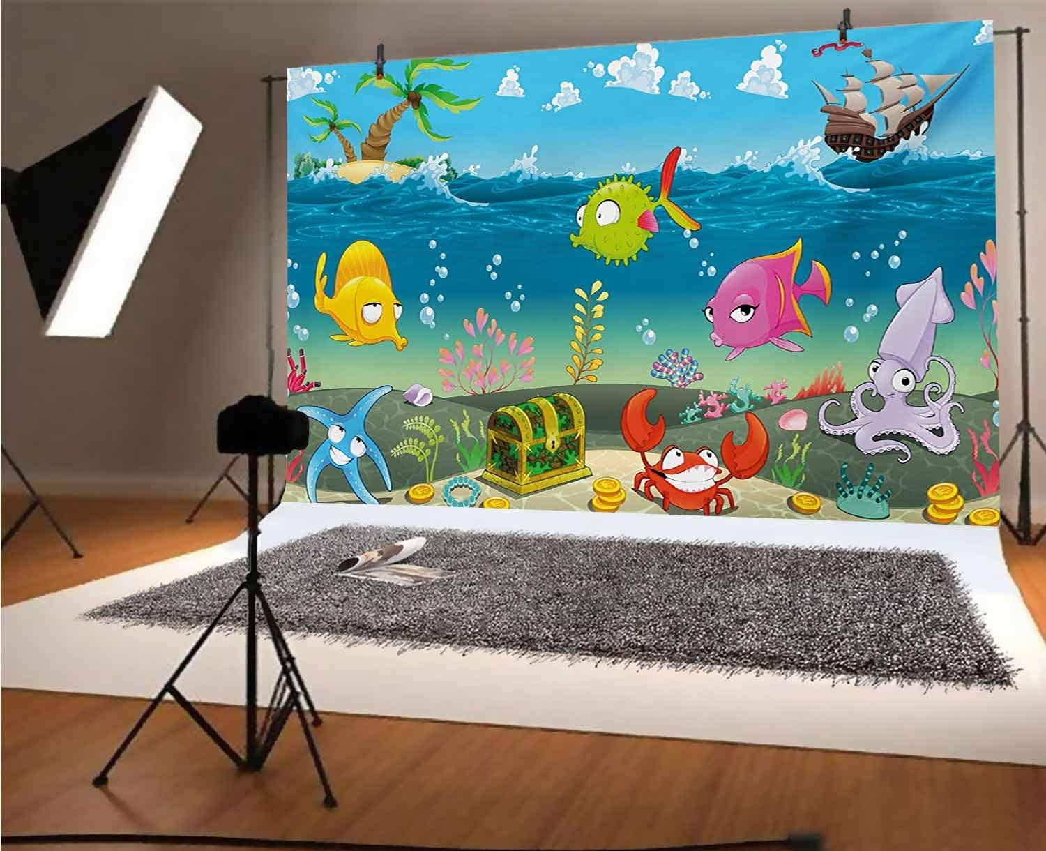 Peach 8x6 FT Vinyl Photo Backdrops,Fishes Motif Nautical Marine Sea Underwater Creature Animal Aquarium Ornate Forms Background for Selfie Birthday Party Pictures Photo Booth Shoot