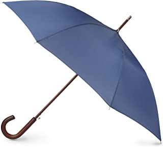 totes Totes Auto Open Wooden Handle J Stick Umbrella, Steele Blue (Blue) - 9302