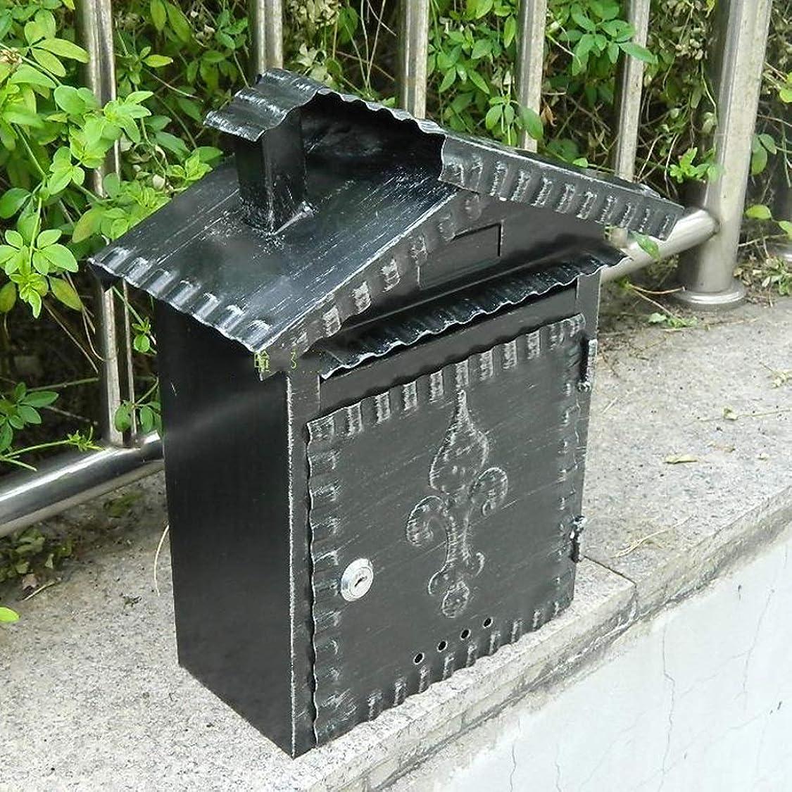 作詞家避難それるDjyyh ウォールマウントされたメールボックス、レターボックス、メールボックス、ガーデンドアポストボックス、ヴィンテージ鍛造アイロン防水ポストボックス