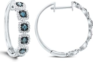 Diamond Couture 10K White Gold Blue Diamond and White Diamond Hoop Earrings, Available in 0.25cttw or 0.31cttw Diamonds (I-J Color, I1-I2 Clarity), Gift for Her