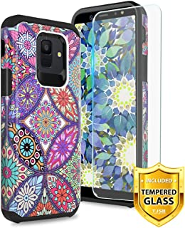 TJS Phone Case for Samsung Galaxy J2 Core/J2 2019/J2 Pure/J2 Dash/J2 Shine, with [Tempered Glass Screen Protector] Dual Layer Hybrid Shockproof Drop Protection Impact Rugged Armor Cover (Colorful Manda)
