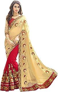 Kofeis saree mart smart brand Women's Ruffle Saree Lycra Fabric With Blouse Piece