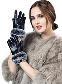 YISEVEN Women's Touchscreen Lambskin Leather Gloves Rex Rabbit Fur Cuff Soft Hand Warm Heated Fleece Lined Luxury Ladies Winter Accessories Dress Driving Xmas Gift Packed, Black 7.0