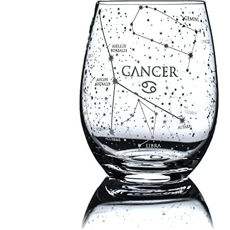 Cancer Birthday Gift for Her Cancer Star Sign Cancer Zodiac Best Friend Gift, Personalised Wine Glass Cancer Star Gift Zodiac Gift
