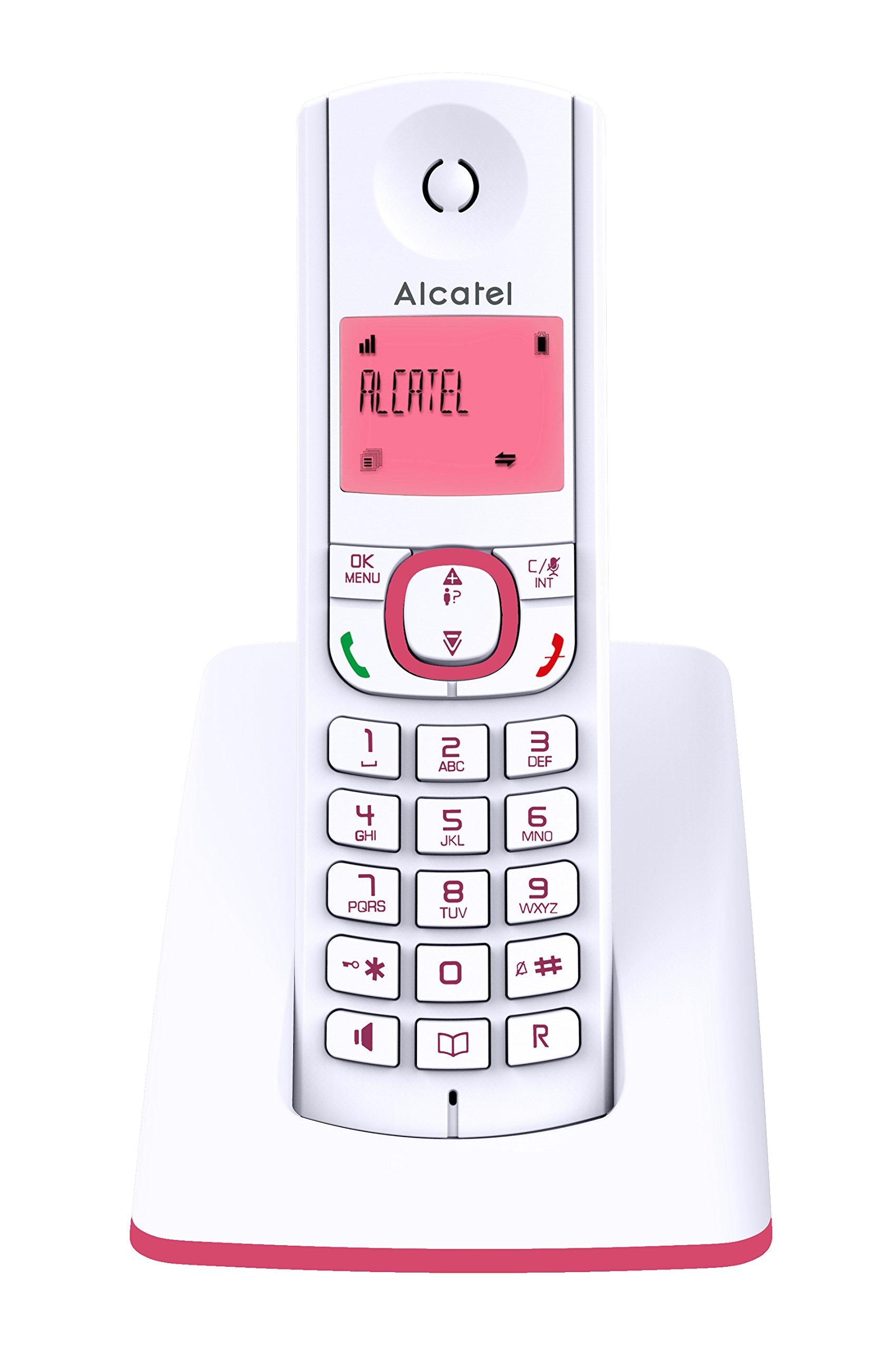 Alcatel F530 - Teléfono (Teléfono DECT, Terminal inalámbrico, Altavoz, 50 entradas, Identificador de Llamadas, Rosa, Blanco): Amazon.es: Electrónica