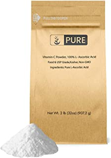 Vitamin C Powder (2 lbs) by Pure, Eco-Friendly Packaging, L-Ascorbic Acid, Antioxidant, Boost Immune System, DIY Skin Care
