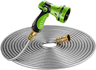 Beaulife New 304 Stainless Steel Metal Garden Hose with 8 Functions Metal Garden Hose Nozzle 75 feet|Flexible, Portable & Lightweight - No Kink, Tangle & Puncture Resistant