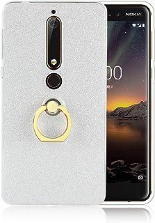 LeviDo Funda Compatible para Nokia 6.1 2018 Silicona Bumper Caucho con Anillo Caso TPU Delgado Goma para Nokia 6.1 2018 Antigolpes Parachoque Cover, Blanca